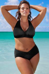 Black Halter Twist Front Bikini Set available from SwimsuitsForAll, Click for more Details