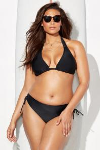 Black Triangle Bikini Set with Side-Tie Brief available from SwimsuitsForAll, Click for more Details