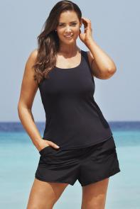 Black Tankini Set with Cargo Short available from SwimsuitsForAll, Click for more Details