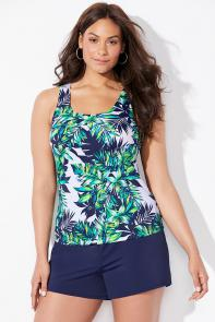 Blue Green Palm Tankini Set with Short available from SwimsuitsForAll, Click for more Details