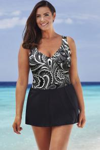 Longitude Delhi Mock Surplice Swimdress available from SwimsuitsForAll, Click for more Details