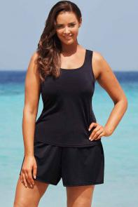 Black Tankini Set with Short available from SwimsuitsForAll, Click for more Details