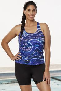 Blue Purple Swirl Tankini Set with Bike Short available from SwimsuitsForAll, Click for more Details