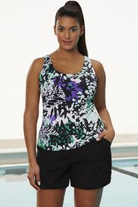 Green Purple Floral Tankini Set with Cargo Short available from SwimsuitsForAll, Click for more Details