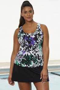 Chlorine Resistant Lilypad Sport Skirtini available from SwimsuitsForAll, Click for more Details