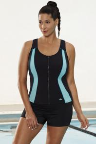 Mint Zip Up Sport Tankini Set with Boy Short available from SwimsuitsForAll, Click for more Details