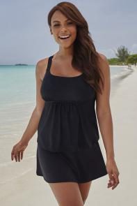 Black Flared Skirtini available from SwimsuitsForAll, Click for more Details