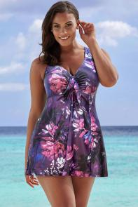 Purple Multi Tie Front Swimdress available from SwimsuitsForAll, Click here to visit their site.