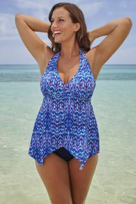 Galaxy Handkerchief Halter Tankini available from SwimsuitsForAll, Click for more Details