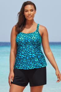 Blue Teal Flared Tankini Set with Short available from SwimsuitsForAll, Click for more Details