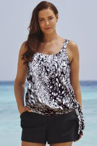 Black White Blouson Tankini Set with Cargo Short available from SwimsuitsForAll, Click for more Details