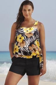 Yellow Floral Blouson Tankini Set with Cargo Short available from SwimsuitsForAll, Click for more Details