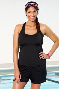Chlorine Resistant Black Racerback Shortini available from SwimsuitsForAll, Click for more Details