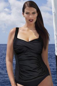 Black Twist Front Tankini Top available from SwimsuitsForAll, Click for more Details