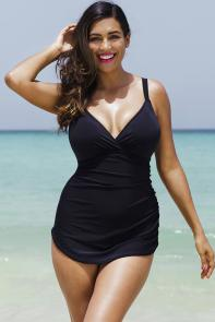 Black Plunge Sarong Front One Piece Swimsuit available from SwimsuitsForAll, Click here to visit their site.