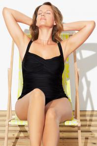 Black Twist Front One Piece Swimsuit available from SwimsuitsForAll, Click for more Details