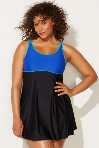 Mazarine Colorblock Swimdress available from SwimsuitsForAll, Click here to visit their site.