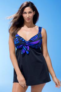 Longitude Fantasy Tie-Front Swimdress available from SwimsuitsForAll, Click for more Details