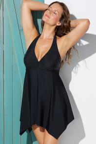 Black Beaded Handkerchief Swimdress available from SwimsuitsForAll, Click here to visit their site.