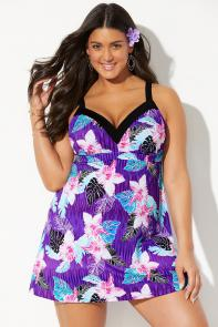 Tie Back V-Neck Swimdress available from SwimsuitsForAll, Click for more Details