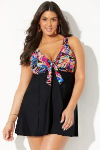 Tie Front V-Neck Swimdress available from SwimsuitsForAll, Click for more Details
