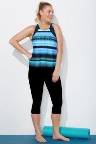 Blue Stripe High Neck Tankini Set with Capri available from SwimsuitsForAll, Click for more Details