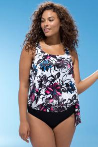 White Floral Blouson Tankini Set available from SwimsuitsForAll, Click for more Details