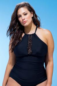 Black Macrame High Neck Top available from SwimsuitsForAll, Click for more Details