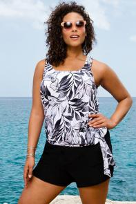 Black White Palm Blouson Tankini Set with Short available from SwimsuitsForAll, Click here to visit their site.