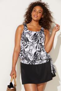 Black White Palm Blouson Tankini Set with Skirt available from SwimsuitsForAll, Click here to visit their site.