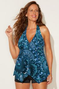 Teal Paisley Halter Tankini Set with Boy Short available from SwimsuitsForAll, Click for more Details
