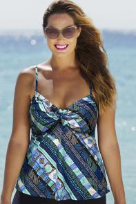 Blue Boho Underwire Tankini Top available from SwimsuitsForAll, Click for more Details