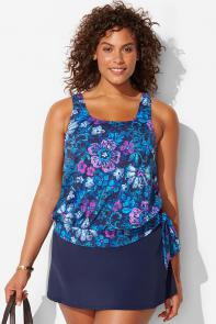 Maruto Side Tie Blouson Skirtini available from SwimsuitsForAll, Click for more Details