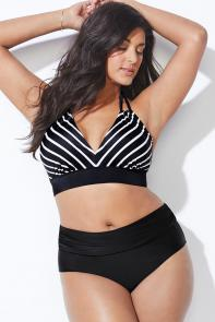 Black and White Stripe Bikini Set available from SwimsuitsForAll, Click for more Details