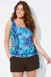 Blue Multi Blouson Tankini Set with Cargo Short available from SwimsuitsForAll, Click for more Details