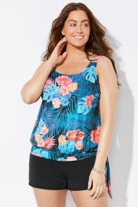 Teal Tropical Blouson Tankini Set with Short available from SwimsuitsForAll, Click for more Details