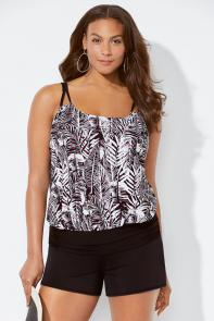 Sparrow Loop Strap Blouson Banded Shortini available from SwimsuitsForAll, Click for more Details