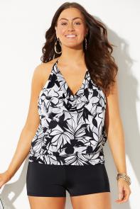 Underwire Blouson Tankini with Boy Short available from SwimsuitsForAll, Click for more Details