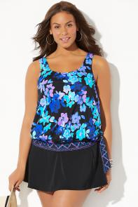Side Tie Blouson Tankini with Skirt available from SwimsuitsForAll, Click here to visit their site.