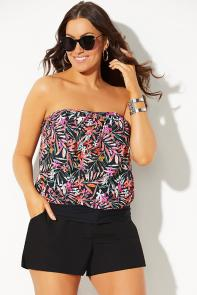 Bandeau Blouson Tankini with Cargo Short available from SwimsuitsForAll, Click for more Details