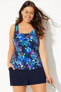 Classic Tankini with Navy Cargo Short available from SwimsuitsForAll, Click for more Details
