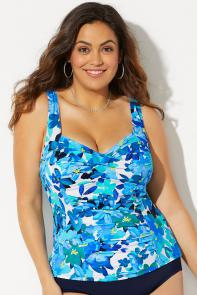 Ruched Twist Front Tankini Top available from SwimsuitsForAll, Click for more Details