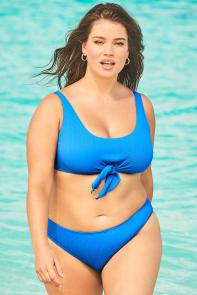 Idol Periwinkle Tie Front Underwire Bikini available from SwimsuitsForAll, Click for more Details