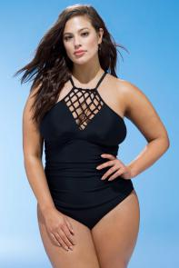 Black Macrame Swimsuit available from SwimsuitsForAll, Click here to visit their site.
