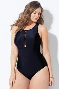 Black Center Cutout Swimsuit available from SwimsuitsForAll, Click here to visit their site.