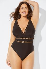 Lattice V-Neck One Piece Swimsuit available from SwimsuitsForAll, Click for more Details