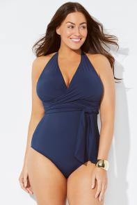 Midnight Faux Wrap One Piece Swimsuit available from SwimsuitsForAll, Click here to visit their site.